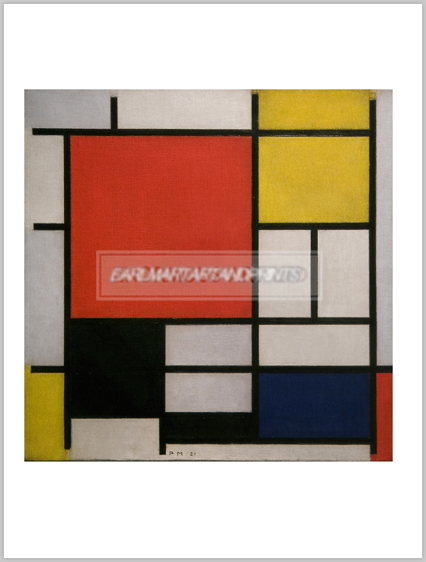 モンドリアン Composition with Large Red Plane, Yellow, Black, Grey and Blue, 1921